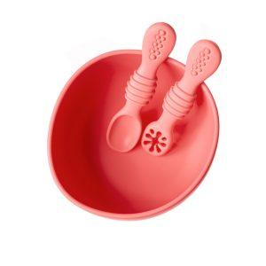 Set de bol con ventosa y dos cucharas de aprendizaje peach Mundo Petit